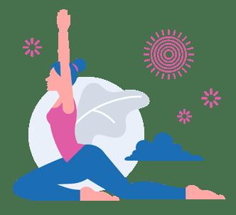 Woman sitting in yoga pigeon pose (or Eka Pada Rajakapotasana in the original yoga sanskrit)