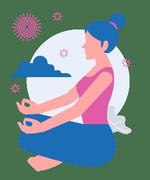 Woman sitting calmly in yoga crossed legged meditation pose