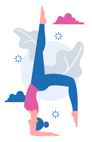Woman doing yoga Feathered Peacock Pose (orPincha Mayurasana in Sanskrit)