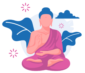buddist munk sitting in a medtitation pose