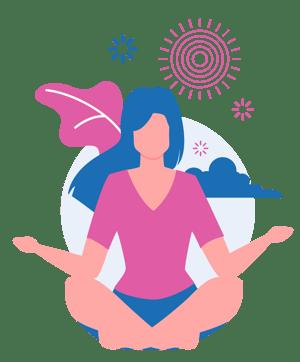 graphic of girl sitting in yoga pose practicing mindfulness during yoga nidra