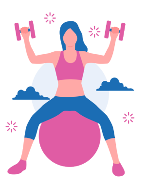 Girl sitting on a pilates ball