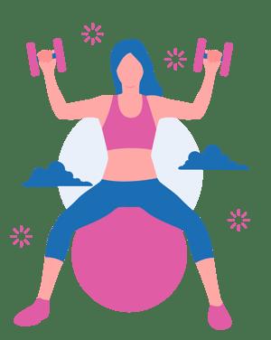 Girl sitting on a pilates ball