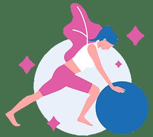 Girl doing pilates pushing a pilates ball
