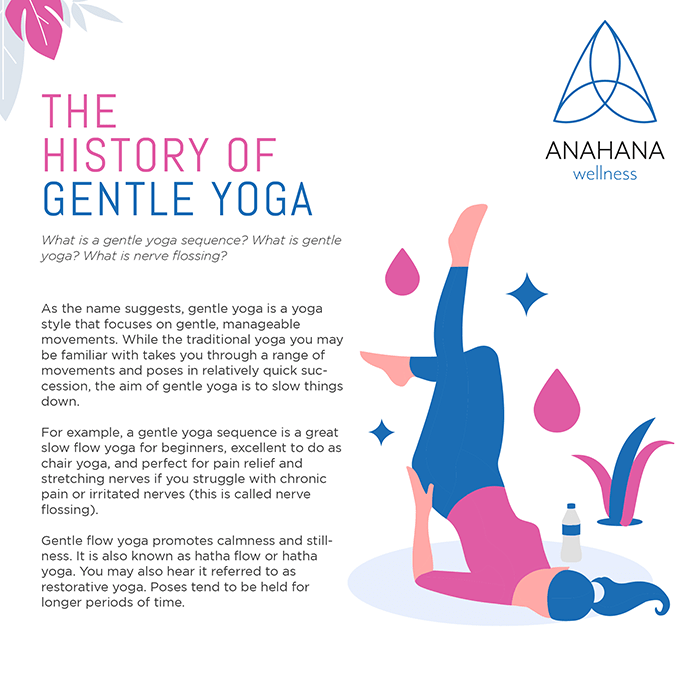 History of gentle yoga girl doing yoga pose