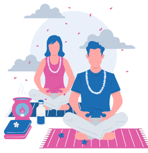 Man and woman sitting in meditation pose listening to meditation music