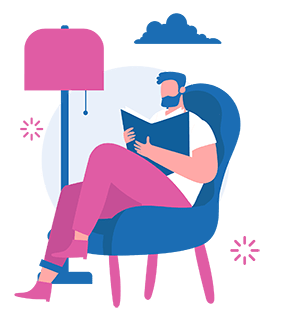 Man reading a book sitting on a chair, using stress management to relax