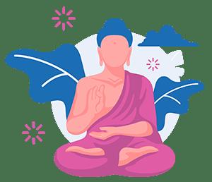 buddist munk sitting in a meditation pose