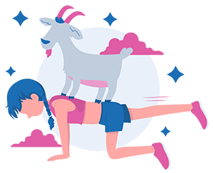 girl standing on all four with a goat on her back