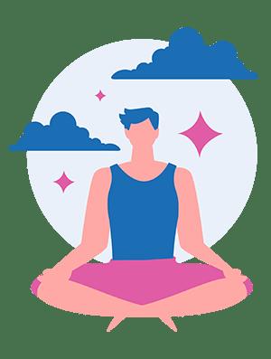 man sitting in yoga pose practicing yoga nidra for sleep