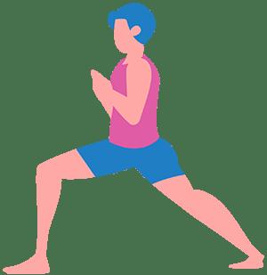 woman standing in yoga pose warrior 1 virbhadrasana