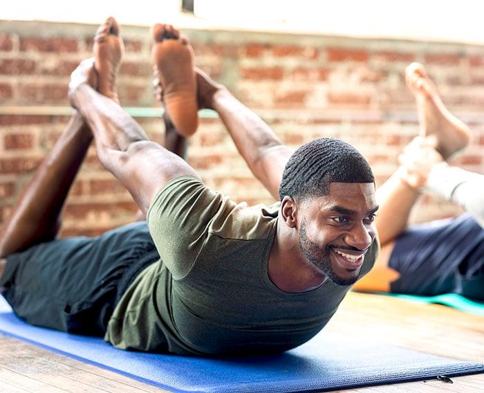 men in a yoga class