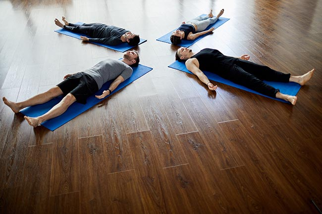 napping at end of yoga practice with the help of yoga nidra