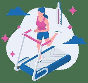 woman exercising, running on treadmill