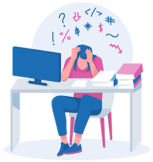 woman sitting at desk feeling anxious and stressed