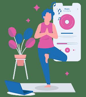 woman standing on one leg yoga pose listening to yoga music