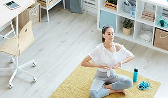 4 7 8 breathing young woman enjoying home meditation breathing exercises